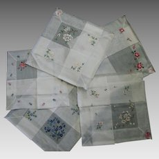 Five Logan, Made in Switzerland Irish Linen Hankies