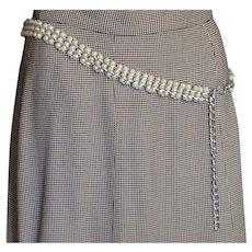 Vintage White Faux Pearl Chain Belt