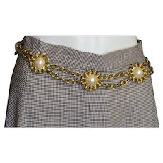 Gold Chain & Bold White Synthetic Pearls Cabochons Belt