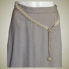 Woven White Synthetic White Pearls & Gold Plated Chain Belt