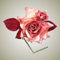 Beautiful Vintage Fabric Rose Corsage