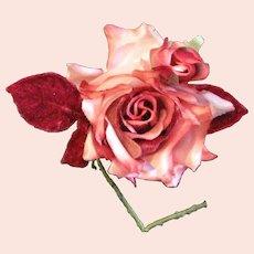 Beautiful Vintage Fabric Rose Corsage