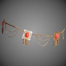 Vintage KJL Resin Coral Cabochons Chain Belt