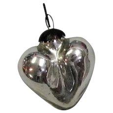 Silver Heart Shape Mercury Glass Kugel