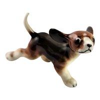 Miniature Fine China Brown & White Hound (Dog)