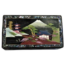 Vintage Black Lacquered Hand Painted Music Box