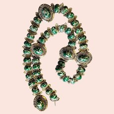 Spectacular Green & Gold Chain Belt With Cabochons