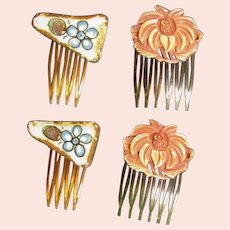 Two Vintage Sets Of Hair Combs