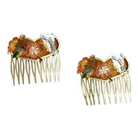 Pair of Cloisonne Hair Combs
