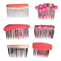 Six Different Vintage Hair Combs