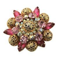 Beautiful Pink Crystal Rhinestone Juliana Brooch