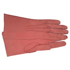 Beautiful Pink Suede Leather With Black Stitching
