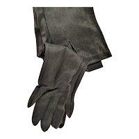 Long Black Button Wrist Cloth Gloves