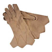 Fancy Hand Stitched Gusset Tan Gloves