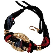 Multi Colored Cord Belt With Gold Decoration Belt