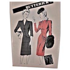 Beautiful Butterick 1940's Fashion Dress Sewing Pattern