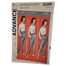 Advance Pants/Slacks Sewing Pattern