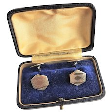 Antique Silver Colored Cuff Links & Case