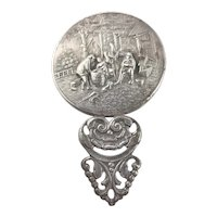 Silver Plate High Relief Pocket Mirror