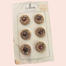 Vintage Rhinestone & Glass Carded Buttons