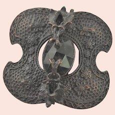 Antique Black Stone, Black Over Brass Belt Buckle