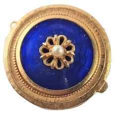 Pretty Little Blue Enamel Florenza Compact