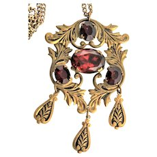 Antique Taille d` Epargne & Red Glass Pendent Chain Necklace