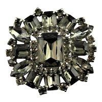 Spectacular Black Diamond Rhinestone Brooch