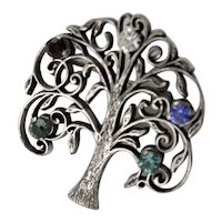 Pretty Sterling Anson Tree Of Life Brooch