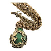 Amazing Antique Gold Colored Dragons Circling Jade Like Egg Necklace