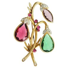 Stunning Colored Glass Stone Brooch