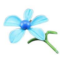 Lovely Vintage Blue Enamel Daisy Brooch