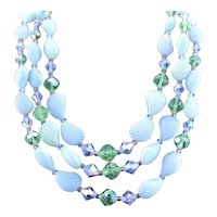 Three Strand Swarovski Crystal & Lucite Shell Shaped Bead Necklace Set