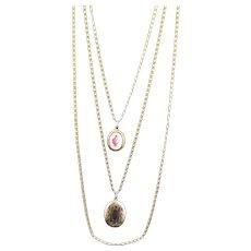 Stunning Goldette Three Strand Locket Necklace
