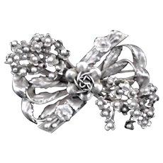 Spectacular Hobe Ribbon & Flowers Dimensional Sterling Brooch