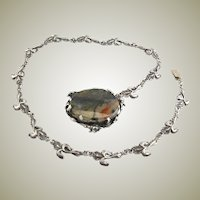 Vintage Handmade Flower Chain & Picture Agate Pendant/Clasp Necklace Made Of Sterling Silver
