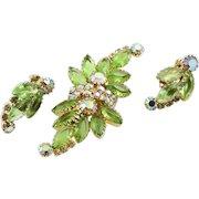 Vintage Peridot Green Rhinestone Brooch With Matching Earrings