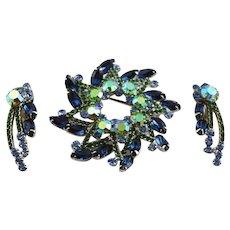 Spectacular Juliana D & E Blue & Green Brooch & Earrings