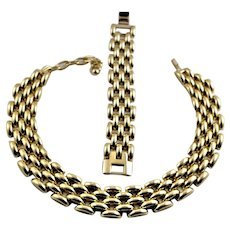 Swiss Marked Gold Colored Necklace & Bracelet