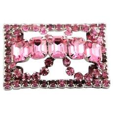Vintage Gale Pink Rhinestone Brooch