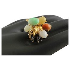 Amazing 14K Gold & Multi Colored Jade Ring