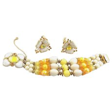 Wonderful Hobe 1960's Bracelet & Earrings With Beautiful Jeweled Clasp