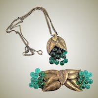 Green & Brass Coro Chain Necklace & Belt Buckle