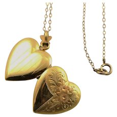 Lovely Vintage Gold Filled Locket & Chain