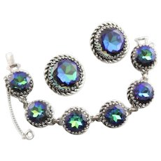 Spectacular Schiaparelli Bracelet & Earrings With Tourmaline Rhinestones In Blue & Green