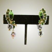 Vintage Juliana Polka Dot Stone Earrings