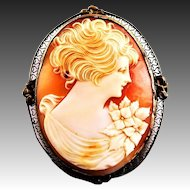 Antique Extra Large Carved Shell Cameo