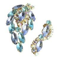 Juliana Aqua & Blue Rhinestone Brooch & Earrings