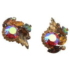 Vintage Juliana Green Margarita & AB Rhinestone Earrings
