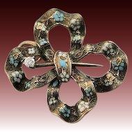 Spectacular Art Nouveau Ruffle Ribbon Enamel Pin
